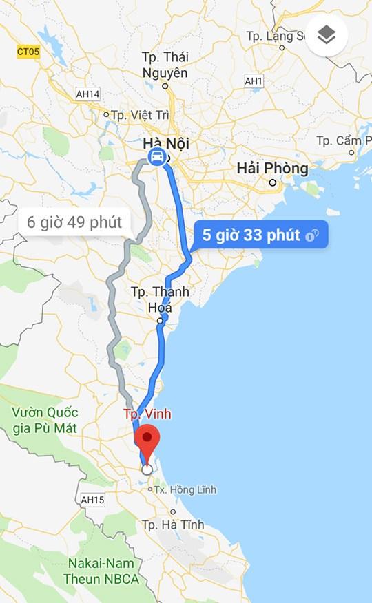 Thời gian di chuyển Hà Nội đi Nghệ An khoảng 5h 33 phút, ảnh chụp từ Map Google