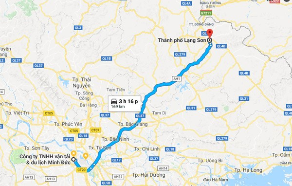 Bản đồ di chuyển từ Hà Nội đến Lạng Sơn. Ảnh chụp từ Google Map
