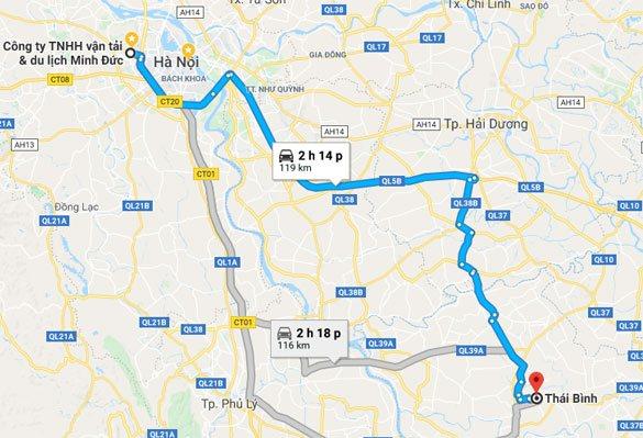 Cung đường từ Hà Nội đi Thái Bình. Ảnh google map