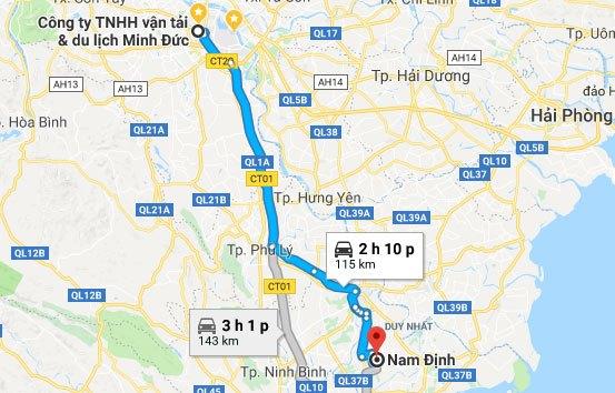 Khoảng cách từ Hà Nội đến Nam Định. Ảnh google map