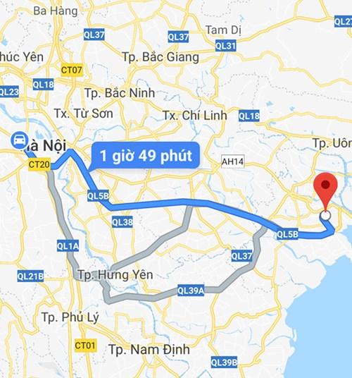 Thời gian di chuyển từ Hà Nội đến Cát Bi khoảng 1 giờ 49 phút