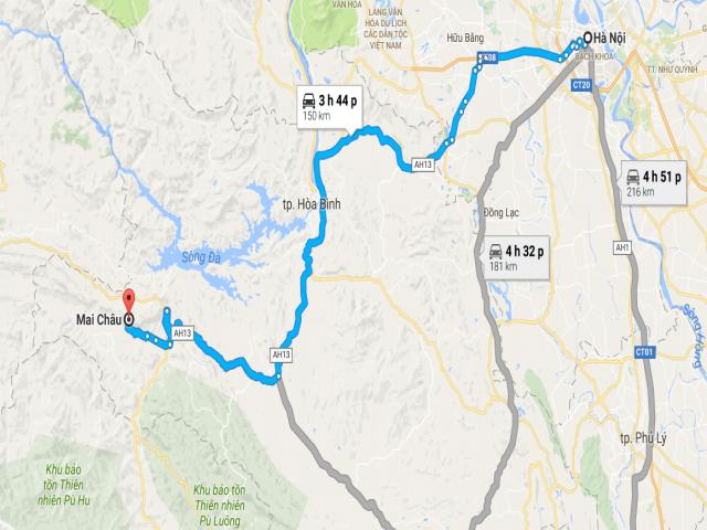 Bản đồ đi du lịch mai châu