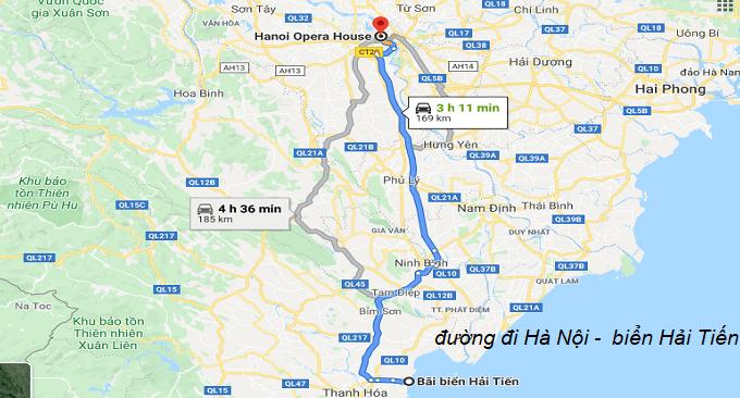 Đường đi từ Hà Nội đến Hải Tiến