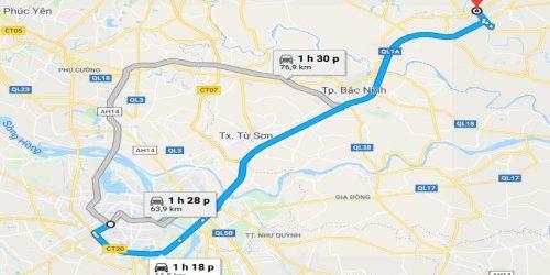 Khoảng cách từ Bắc Giang đến Hà Nội bao nhiêu km?